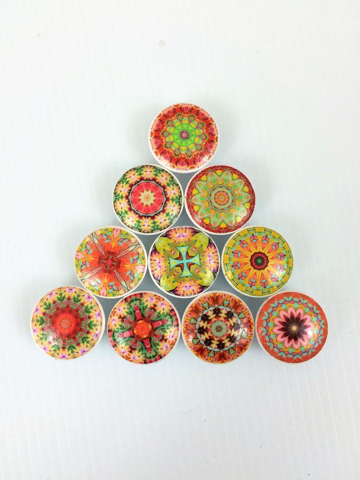 Set of 10 Fiesta Del Sol Mandala Print Cabinet Knobs