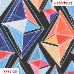 Kočárkovina Premium, Diamanty modré a oranžové na černé, MAT, šíře 160 cm, 10 cm