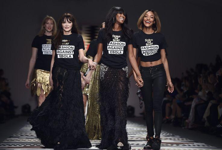 Διασημότητες και μοντέλα βαδίζουν στην πασαρέλα της εβδομάδας μόδας του Λονδίνου με στόχο τη συγκέντρωση χρημάτων για την καταπολέμηση του ιού Έμπολα στη Δυτική Αφρική.