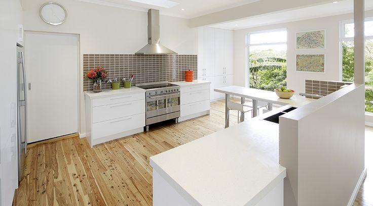 An open plan kitchen for families on the go! #TheGoodGuys #Kitchen #Family #Benchtop