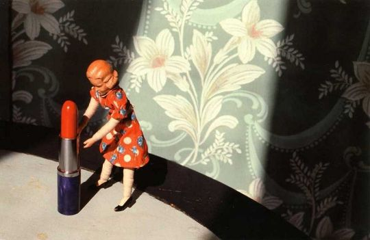 """Laurie Simmons, """"First Bathroom/ Woman Standing,"""" 1978."""