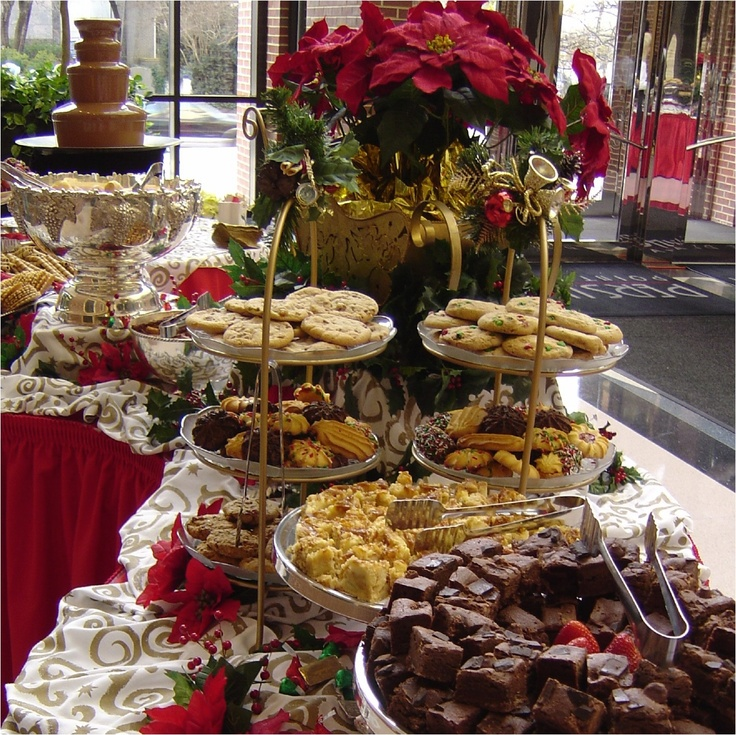Decadent sweet table with chocolate fountain chocolate