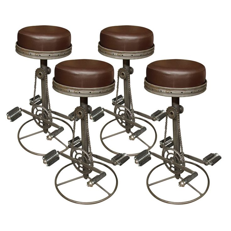 Bicycle form stools: These stools are made from bicycle parts. The pedals are stationary to act as the foot rest.