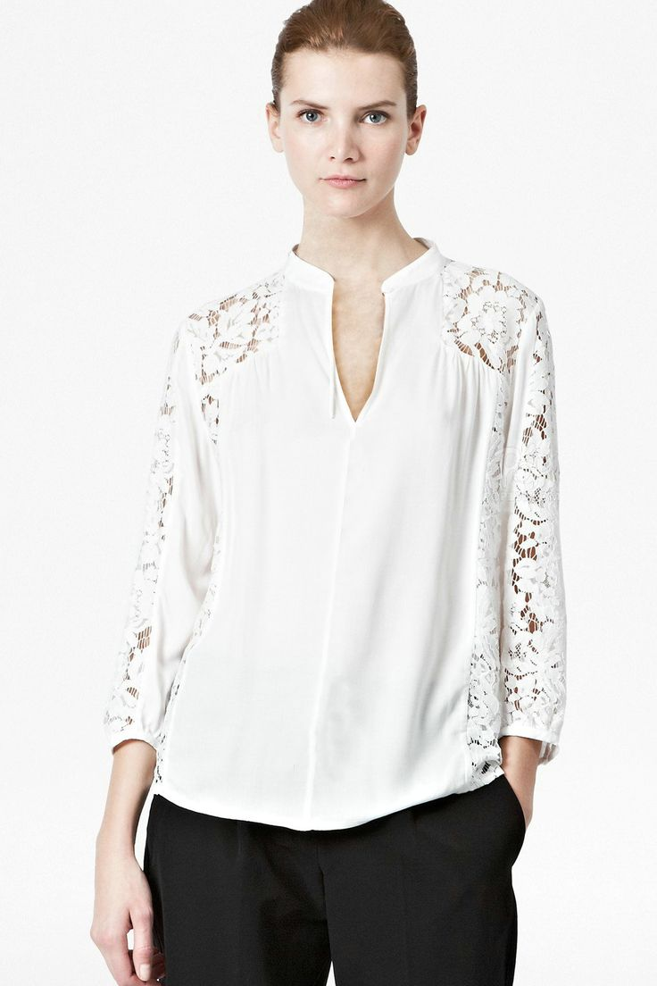 Shop White Contrast Lace Sleeve Blouse online. Sheinside offers White Contrast Lace Sleeve Blouse & more to fit your fashionable needs. Free Shipping Worldwide!