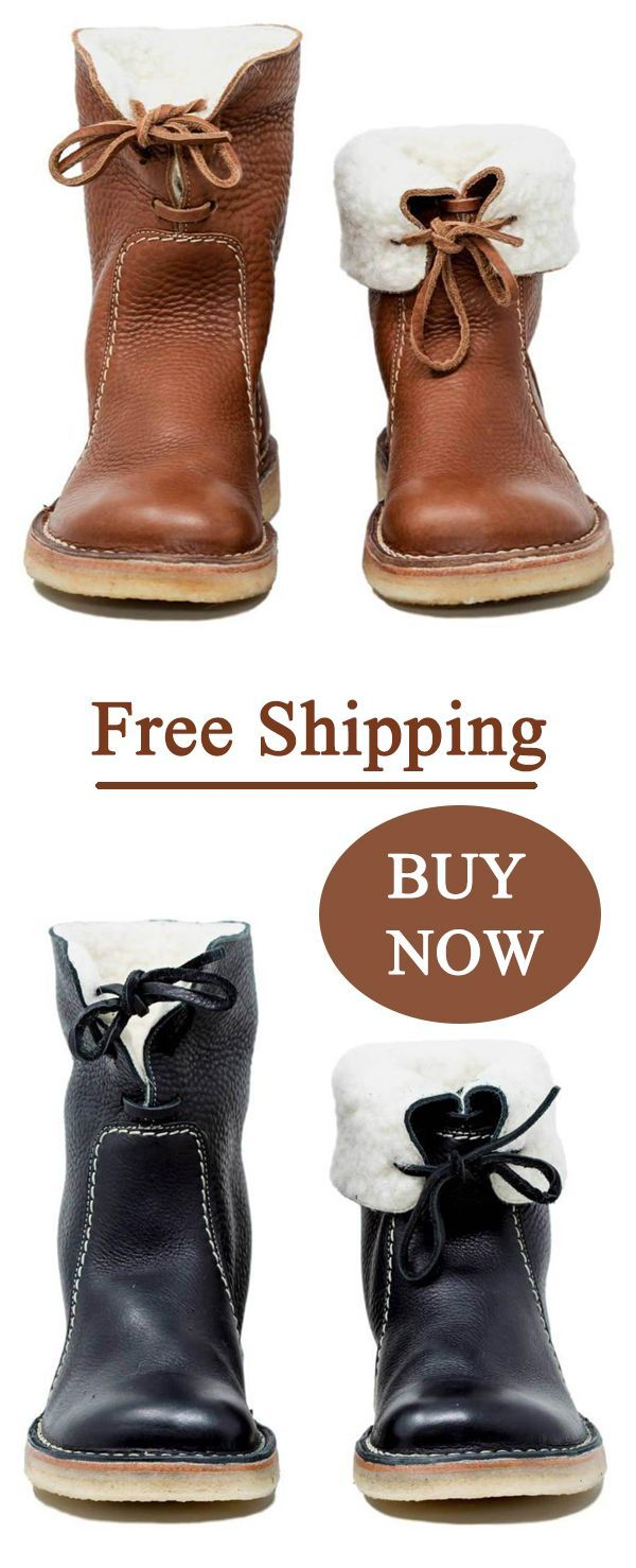 8244c81bb89 Shoespie Trendy Round Toe Lace-Up Ankle Snow Boots
