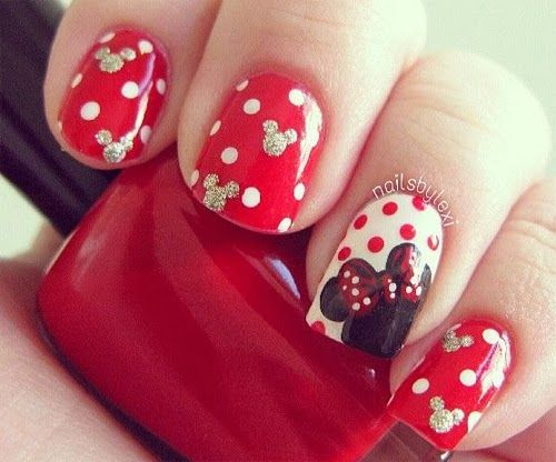 unas disenos Minnie Mouse, Minnie Mouse nail design.