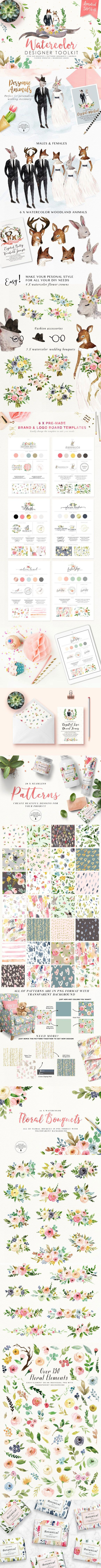 50%off #Watercolor #Designer Toolkit : This is a fancinating collection with #romantic colours, bunch of #graphic elements and #patterns, pre-designed logo board. It gives you possibilities for your imagination and it will definitely add value if incorporated into your products, you will enjoy the creation process!