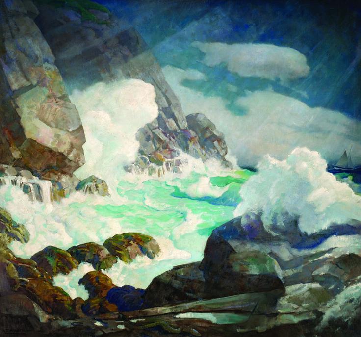 N.C. Wyeth - Maine Headland, Black Head, Monhegan Island, c. 1936-1938. The Wyeths, Maine and the Sea | Farnsworth Art Museum