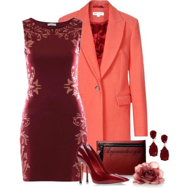 """Brick Bodycon Dress"" by arjanadesign on Polyvore"
