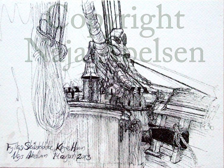 Study abord the schooner Fylla. 2013, This year I offer a summercourse on her, with drawing lessons while sailing, cant wait till week 32! By Naja Abelsen, Denmark