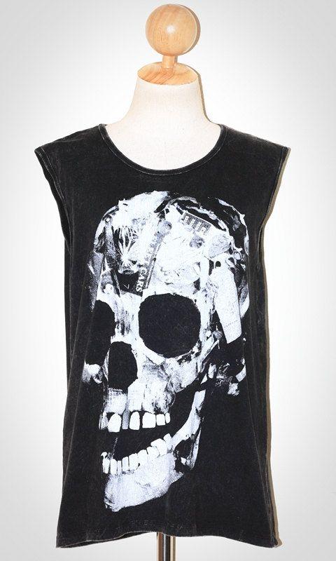 Paper Skull Halloween Bleached Black Singlet Tank Top Sleeveless Art Punk Rock T-Shirt Size L
