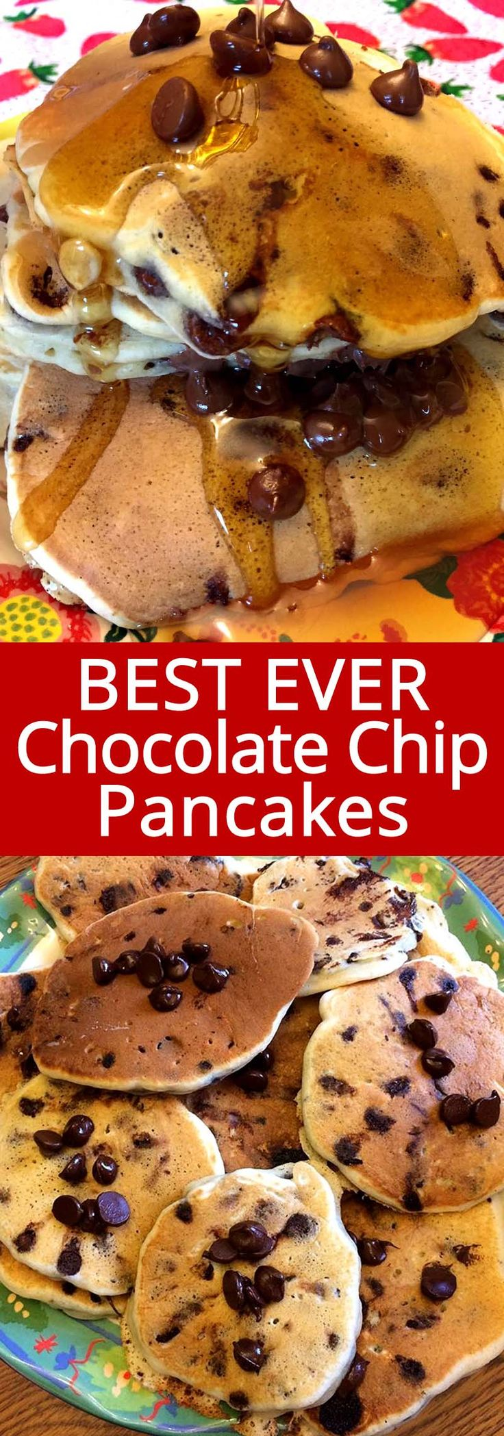 These homemade chocolate chip pancakes are amazing! This chocolate chip pancakes recipe is so easy and made from scratch! I can eat the whole batch of these pancakes in one sitting! #pancakes #chocolatechip #breakfast