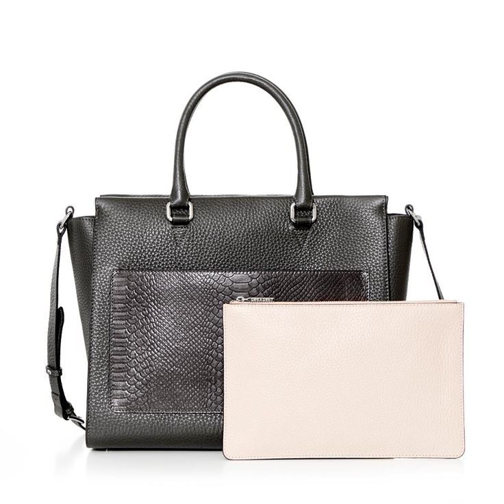 DECADENT 263 Working bag with clutch and strap Charcoal