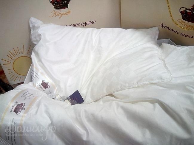 Детский набор KINGSILK из шелкового одеяла 110х140 и подушки 40х60 белый от производителя KingSilk (Китай)