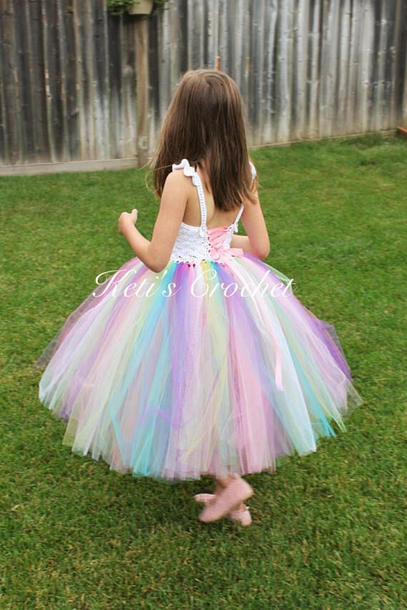 This Rainbow Tutu Dress is great for dress up, as a costume or any party. #affiliate