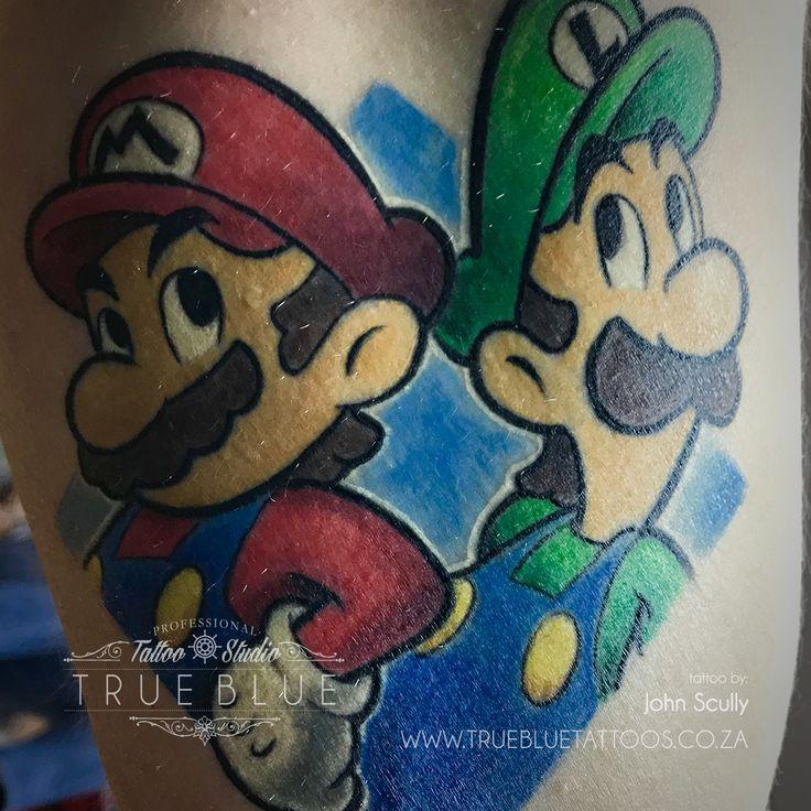 Mario Bros. by John Scully of True Blue Professional Tattoo Studio