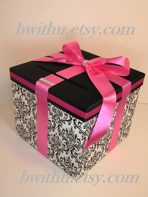 Damask and Hot pink Wedding  Card Box Gift Card Box Sweet 16 Card Box Money Card Box Holder-Customize your color
