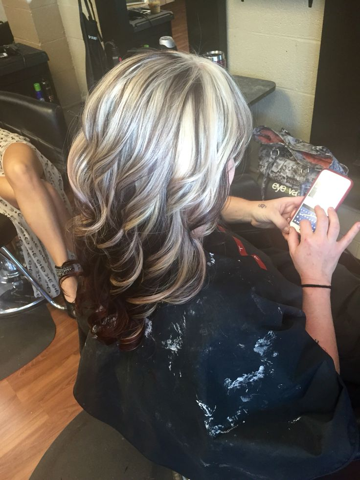Heavy blonde highlight with red underneath | Brown hair ...