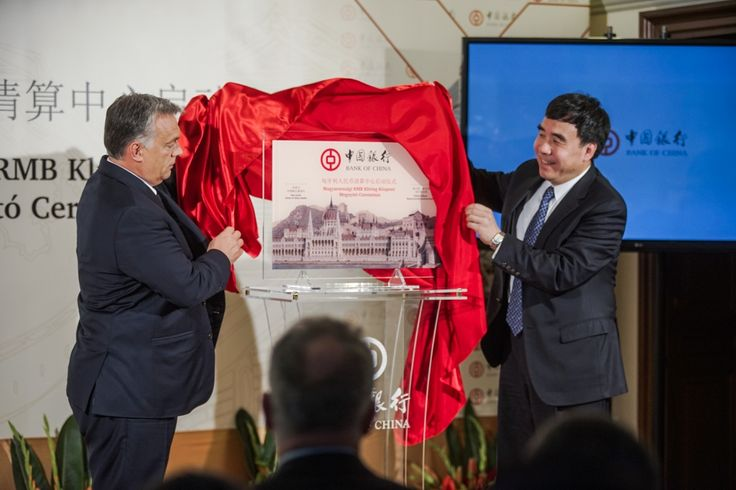Bank of China official opening ceremony (uncovering the plate) by the Hunagrian Prime Minister and the Chairman of Bank of China