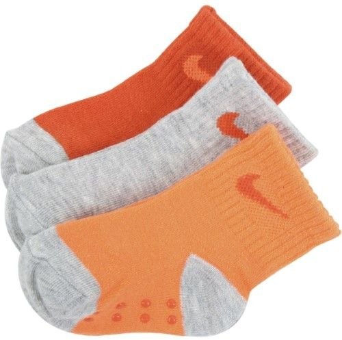 Nike Infant Toddler Boy's 3-Pair Orange Ankle Performance Grip Socks Sz: 12-24M