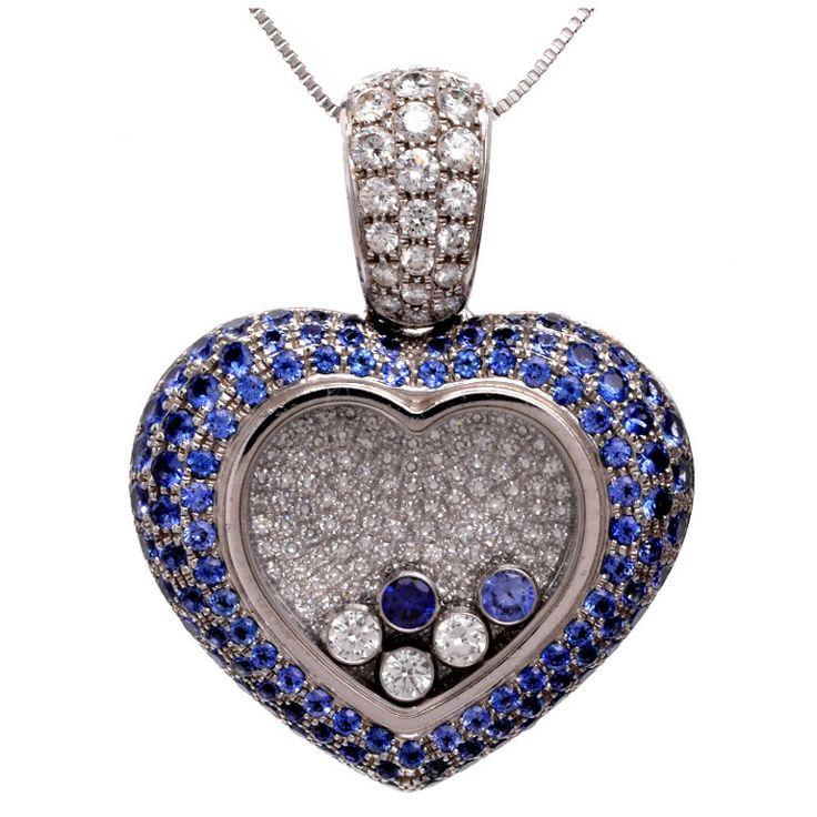 Chopard Happy Diamond Sapphire Diamond Gold Heart-Shaped Pendant, 18K, Modern. 1stdibs.com.
