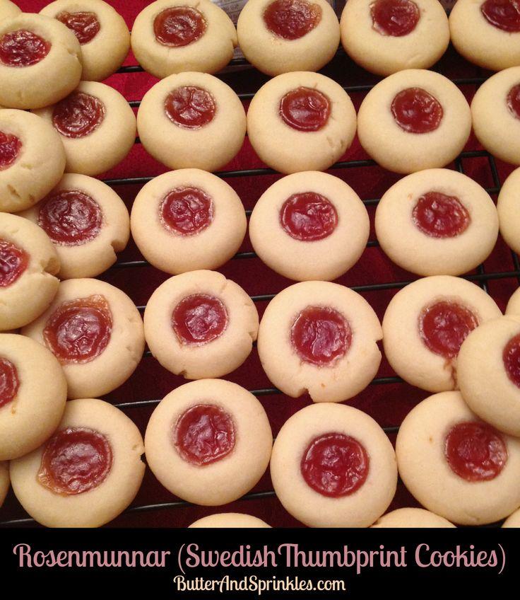 Rosenmunnar (Swedish Thumbprint Cookies)