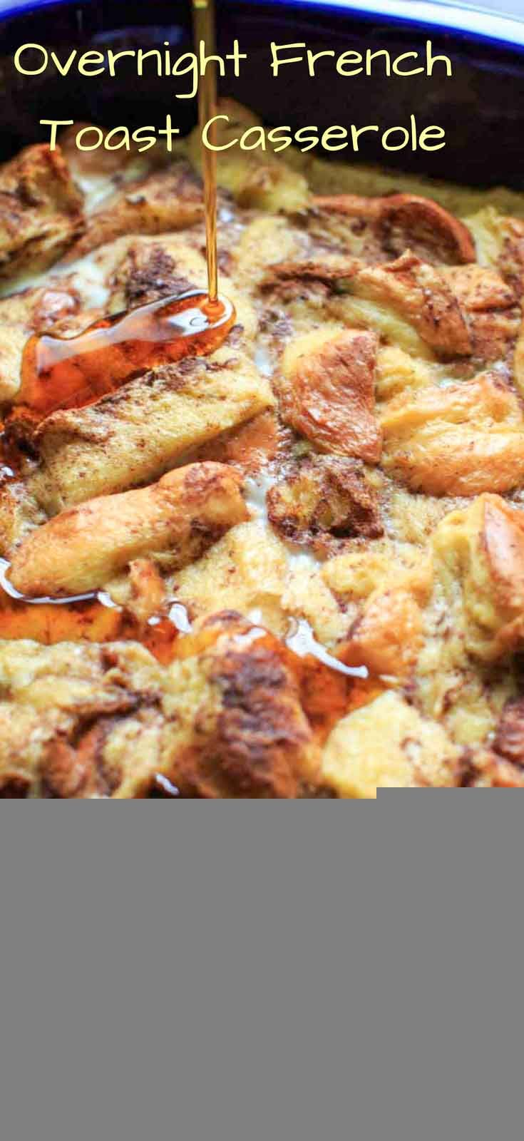 Overnight French Toast Casserole with cinnamon, vanilla and a secret ingredient. As healthy as french toast can be while still being an easy and delicious breakfast to feed a crowd. via @trialandeater