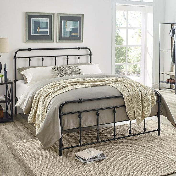 "Keats 46"" Metal Heavy Duty Bed Frame in 2020 Bed frame"