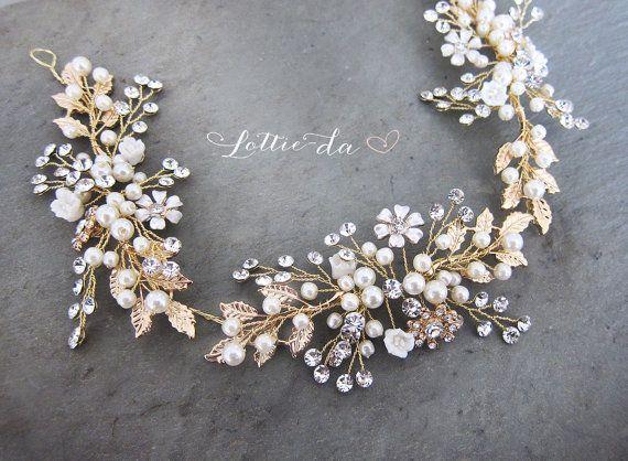 Gold Boho Hair Halo Bridal Pearl Flower Hair by LottieDaDesigns