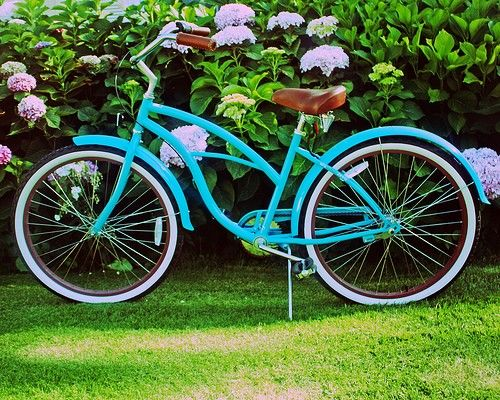 Turquoise Beach Cruiser Amongst The Hydrangeas - 8 x 10 Photography Print. $28.00, via Etsy.