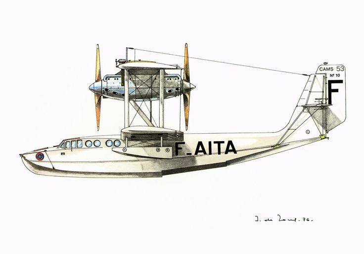 1970 Hydravion Cams 53. Illustration Dessin Avion Ancien. Coque a 2 redans. Bimoteur. Collection Aéronautique Aviation de la boutique sofrenchvintage sur Etsy