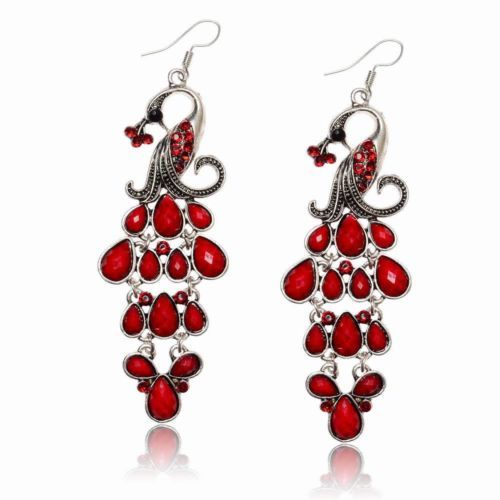 VTG-Tibetan-Silver-Diamante-Teardrop-Eardrop-Peacock-Cocktail-Dangle-Earrings