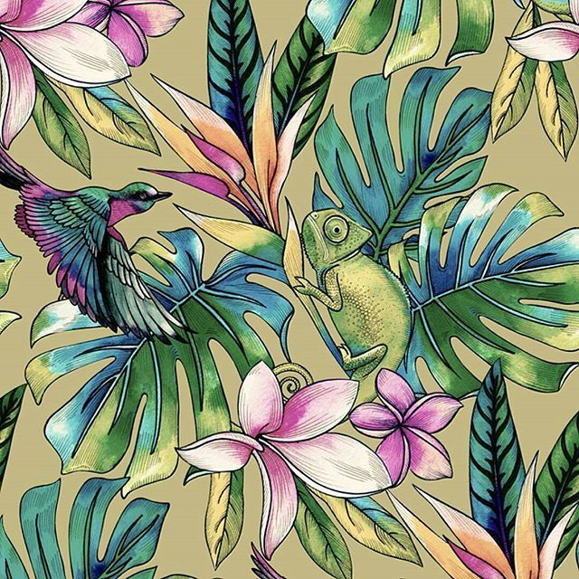 penelopka -  I'm a person of many doubts, but I wouldn't change my job for the world! #printdesign #printdesigner #surfacedesign #digitalprint #textiledesign #pattern #tropical #botanical #swimwear #swimwear #arts_help #art_we_inspire #illustration #floral #shutterstock #dscolor #dspattern #dsgreen #fabricdesign #tropical #watercolor #palm #parrot #hummingbird #craftsposure #dsfloral #surfacespatterns
