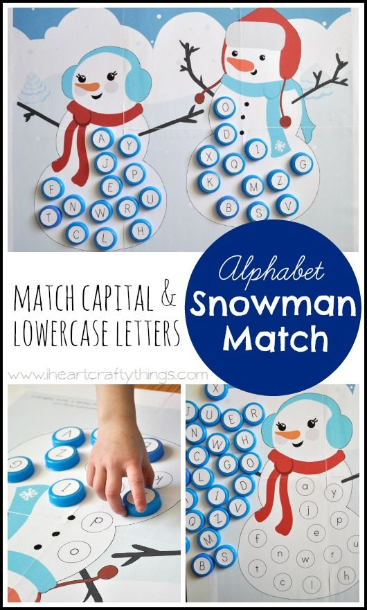 Alphabet Snowman Match Game | Preschoolers can practice matching capital and lowercase letters on the Snowmen. Great Winter activity for kids. | From iheartcraftythings.com