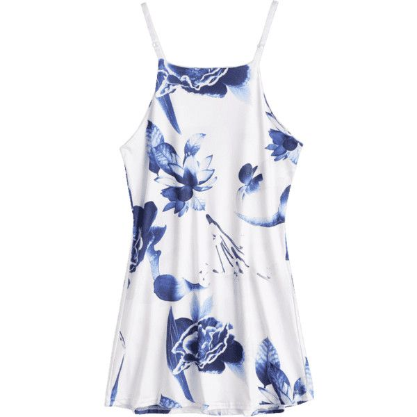 Floral Print Mini Cami Sundress ($18) ❤ liked on Polyvore featuring dresses, purple sundress, floral dresses, floral sundress, mini dress and floral printed dress