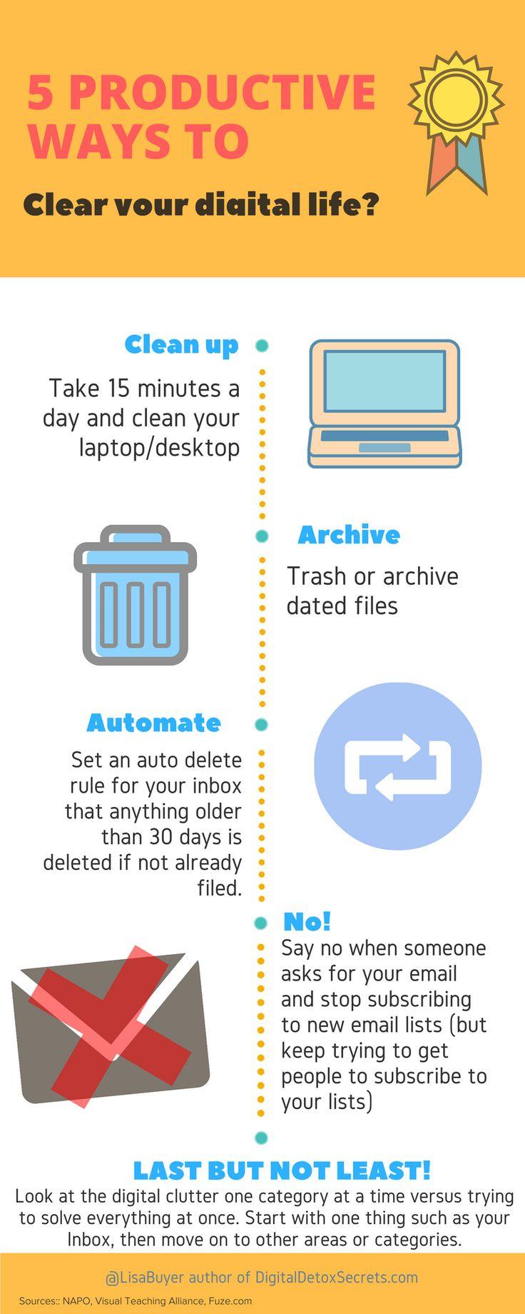 5+ Awesome Ways to Declutter Your Digital Marketing Life. [Infographic] @sejournal @lisabuyer #declutter #organize #digitalmarketing