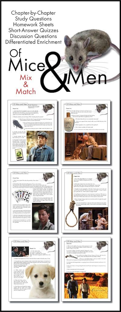 Use this visually stunning package of chapter-by-chapter questions covering Of Mice and Men, John Steinbeck's classic novel, to pull your students into the text and inspire them to think deeply about Steinbeck's themes.