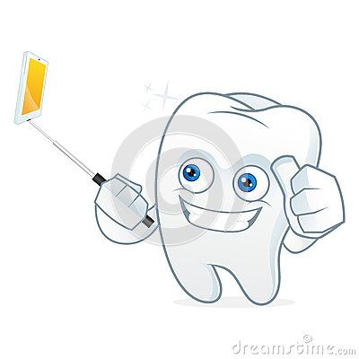 Tooth cartoon mascot taking picture