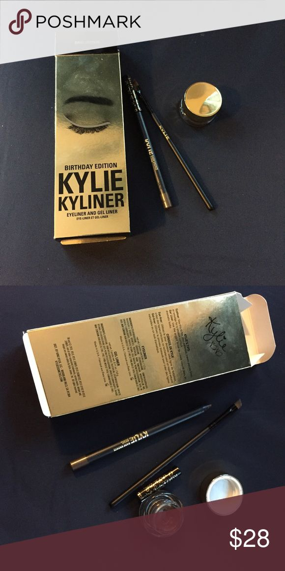Kylie Cosmetics dark bronze kyliner Limited edition - never being restocked! Birthday edition kyliner in shade dark bronze. Swatched, just not my color! Comes with box, pot, pencil, and brush. Purchased directly from Kylie's website!! Kylie Cosmetics Makeup Eyeliner