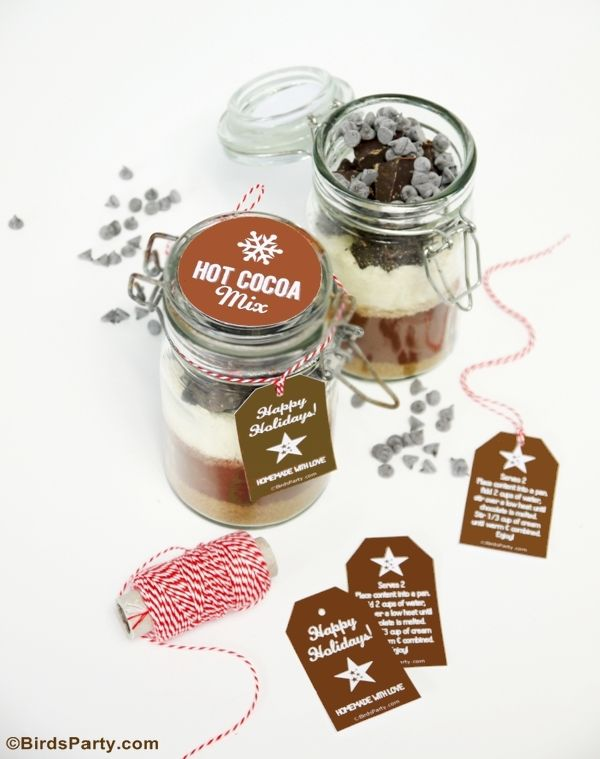 Hot Cocoa Mix Gift in a Jar with FREE Printable Gift Tags ! by Bird's ...