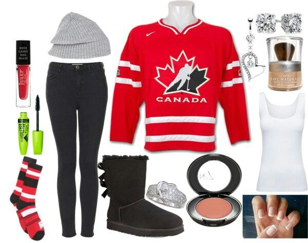 Hockey game outfit! Would wear a Wranglers jersey though D | Fashion/Hair | Pinterest | The o ...