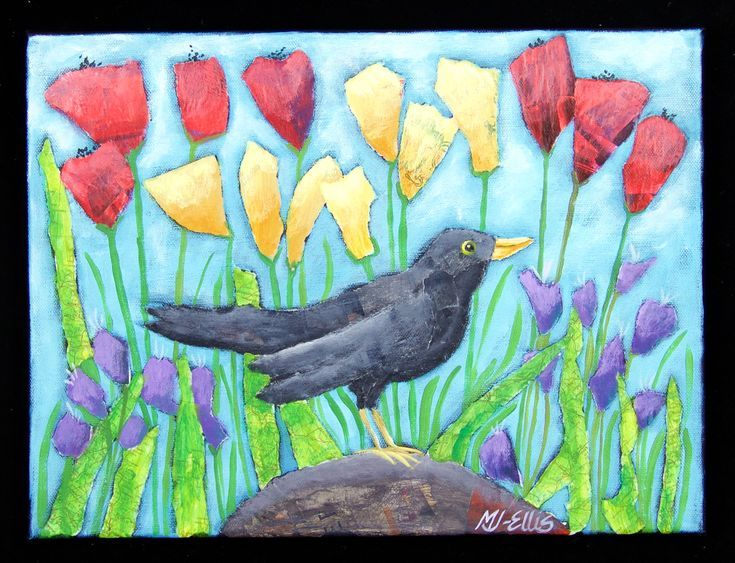 Buy Blackbird Sing, torn paper collage painting on canvas, Mixed Media painting by Mariann Johansen-Ellis on Artfinder. Discover thousands of other original paintings, prints, sculptures and photography from independent artists.