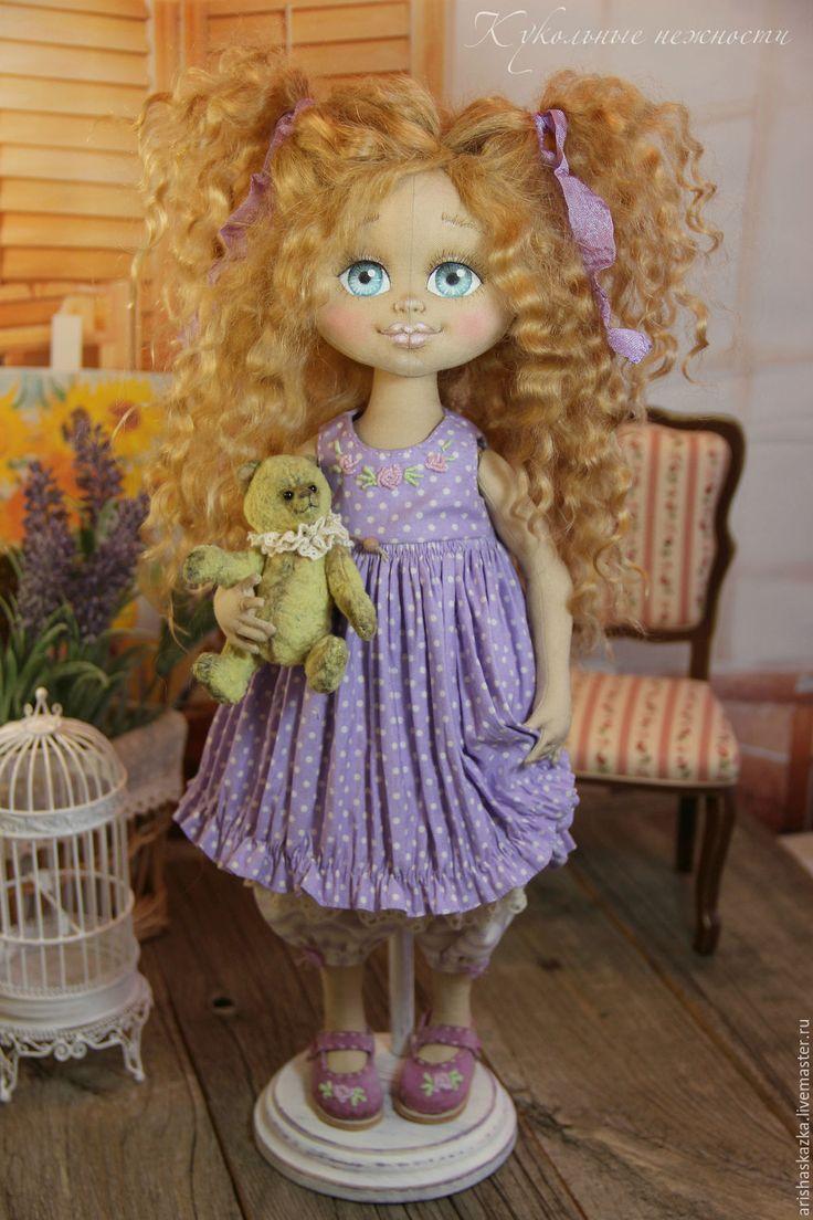 Купить Виолетка .Кукла авторская .Кукла текстильная . - бежевый, девочка, девочка с мишкой, куклы тула