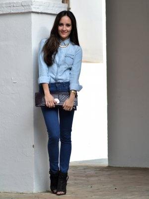 Entuarmariomecole Outfit denim Primavera 2012. Combinar Bolso Rosa oscuro Zara Botines Verde ...