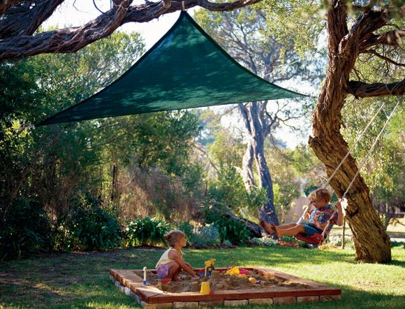 Shade sail for patio and/or yard: Idea, Triangles Parties, Parties Sailing, Shades Sailing, Parties Shades, Shadesail, Plays Area, Kids, Products