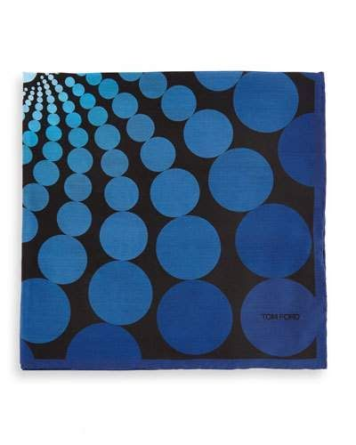 TOM FORD Floating Circle-Print Pocket Square, Blue