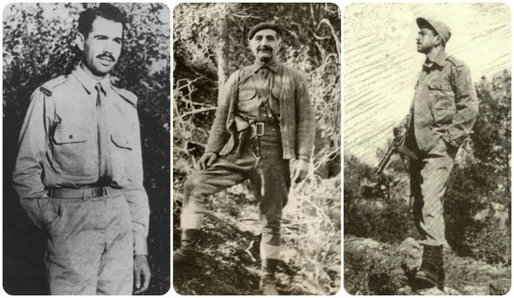 Ο Γρηγόρης Αυξεντίου, ο Γεώργιος Γρίβας και ο Ρένος Κυριακίδης (από αριστερά προς δεξιά)
