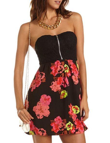 Zip-Front 2-Fer Tube Dress: Charlotte Russe