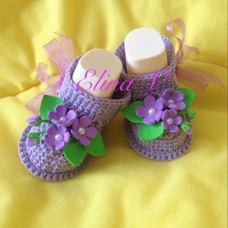 """Купить Пинетки """"Фиолетовые цветы"""" - пинетки, пинетки для новорожденных, пинетки для девочки, пинетки в подарок"""