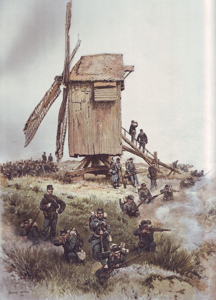 French Army 1900 Chasseurs a Pied holding a position by Édouard Detaille